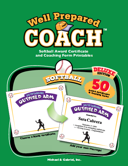 Softball award certificate templates and coaching forms