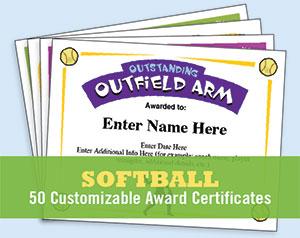 softball award certificate templates
