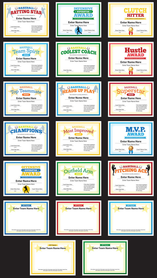 baseball photo award certificates templates